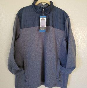 EDDIE BAUER Blue Mixed Media Pullover 1/4 Zip